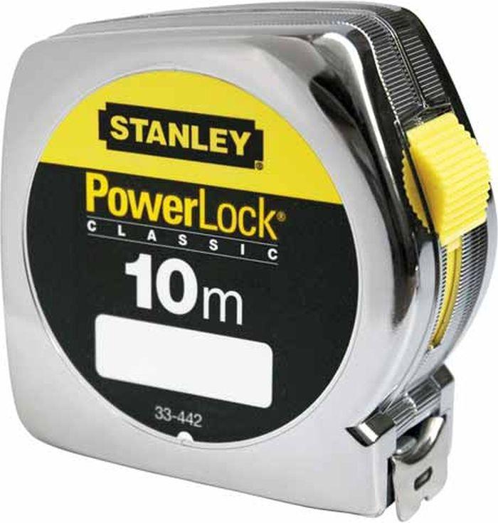 Рулетка Stanley PowerLock, 10 м х 25 мм0-33-442Рулетка Stanley PowerLock - это измерительный инструмент высокой точности, гибкая стальная лента, сматывающаяся в специальный футляр. Она является усовершенствованным вариантом складного метра. Рулетка удобна тем, что на конце измерительной ленты имеется специальный порожек, который можно закрепить за край измеряемого предмета. Пластмассовый хромированный корпус. Покрытие Mylar с повышенной устойчивостью к абразивному износу: срок службы до 10 раз больший по сравнению с традиционными лентами. Ширина ленты: 2,5 см.