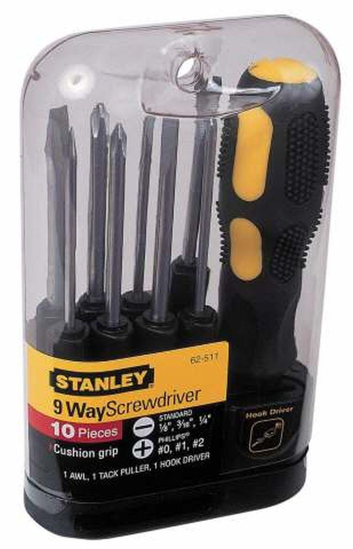 Отвертка Stanley со сменными вставками, 10 предметов0-62-511Отвертка Stanley со сменными вставками предназначена для монтажа/демонтажа резьбовых соединений с применением значительных усилий. Рукоятка, выполненная из двух материалов, с текстурой, для обеспечения максимального крутящего момента и комфорта пользователя. В состав набора входят Отвертка для бит. Вставки шлицевые: 3 мм, 4,5 мм, 6 мм. Вставки крестовые: PH0, PH1, PH2. Шило Гвоздодер для мелких гвоздей Вставка-переходник для закручивания крюков.