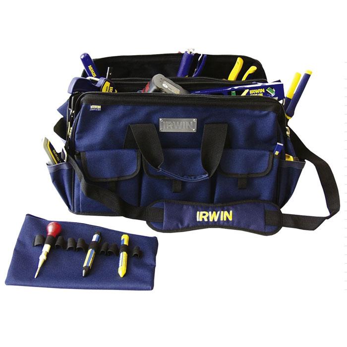 Сумка двойная Irwin для инструментов, широкая, цвет: синий, 50 х 32 х 30 см10506531Сумка двойная широкая для инструментов Irwin служит для хранения и транспортировки различного инструмента. Изготовлена из высококачественного материала, отличается хорошими прочностными характеристиками. Имеет два внутренних отделения и множество карманов, где удобно размещать все необходимые инструменты и аксессуары. В одном из внутренних отделений имеется 2 кармана (один на молнии) и 10 отсеков для инструментов. С внешней стороны 10 карманов (3 на липучке). Сумку легко переносить с помощью удобной ручки или плечевого ремня.