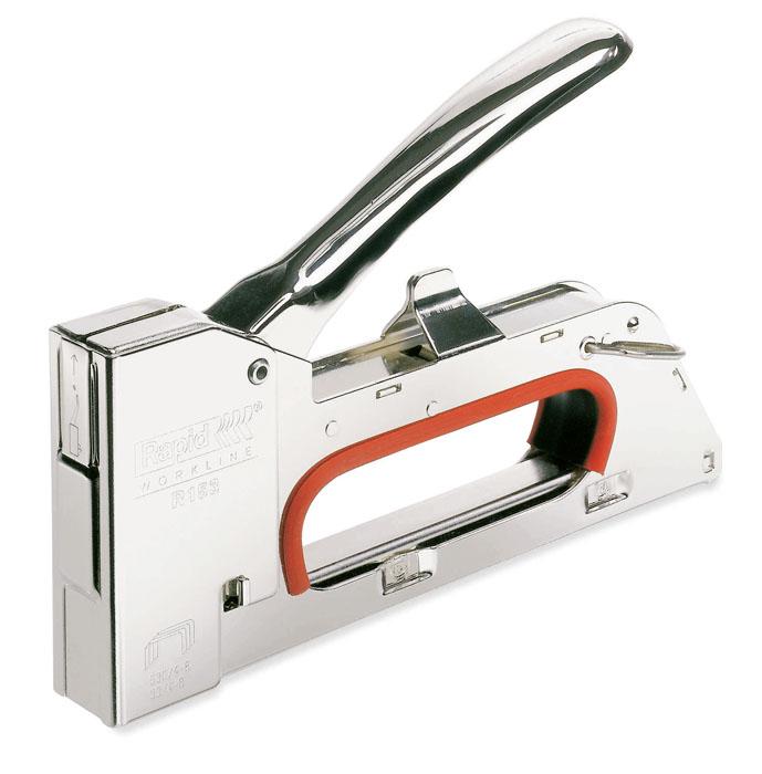 Степлер Rapid R153 для скоб №53 (4-8 мм)5000061Степлер Rapid R153 - усиленная модель для профессиональных пользователей. Корпус выполнен из металла. Удобная ручка. Используется для плотницких работ. Регулируемая сила удара. Загружаемый снизу стальной магазин. Нет теряемых частей. Работает без отдачи.