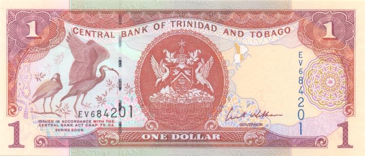 Банкнота номиналом 1 доллар. Тринидад и Тобаго. 2006 год