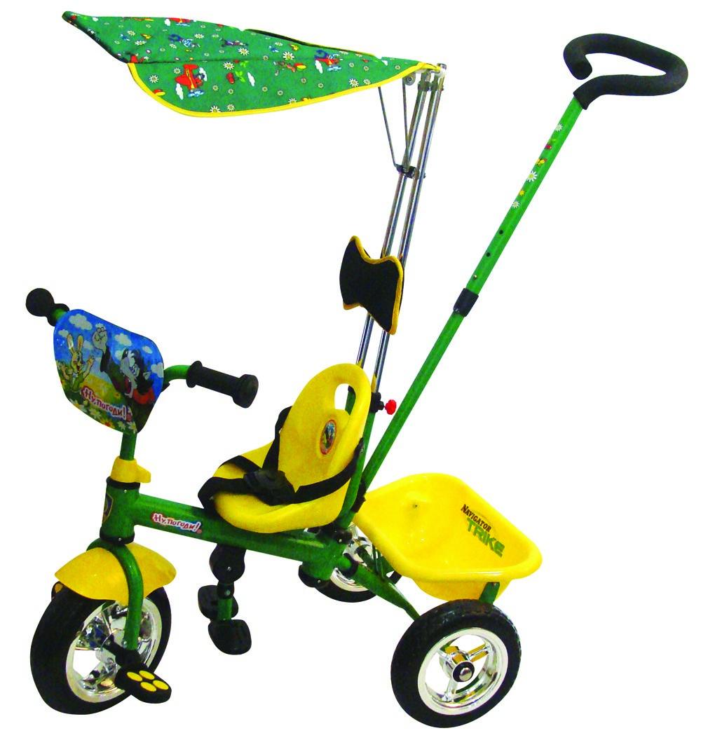 Велосипед 10/8 Navigator Trike Ну, погоди!, цвет: зеленый, желтыйТ54929Велосипеды NAVIGATOR TRIKE обладают ярким, запоминающимся дизайном и функциональностью. Рассчитан на возврат от 3 до 5 лет. Срок службы 10 лет. Комплектация: Колеса с пластиковыми дисками Управляющая ручка Страховочный ремень Подножка Водонепроницаемый тент Задняя корзина Тяга Подушка под голову.