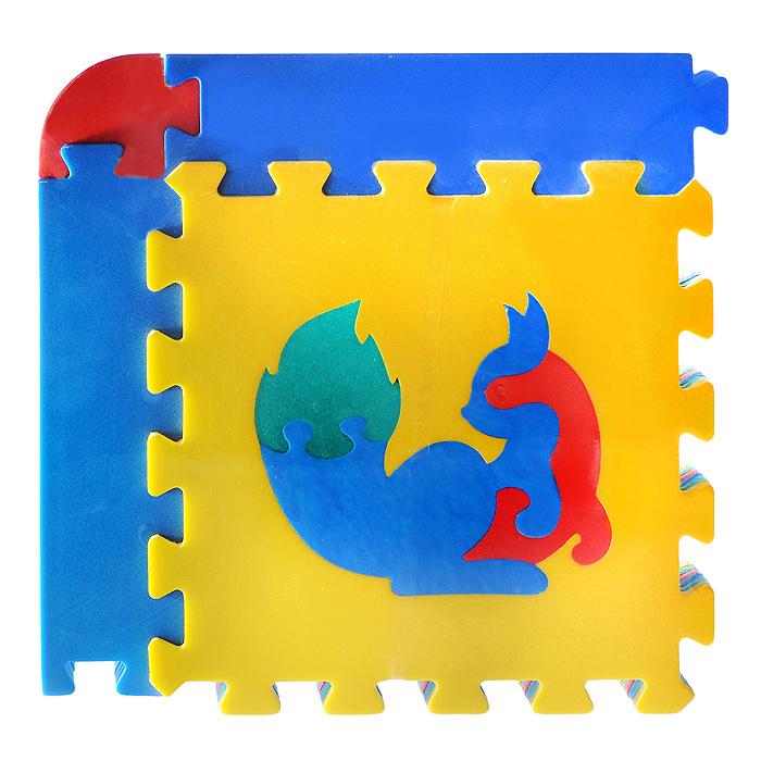 Коврик-пазл Флексика, 6 элементов45427Мягкий коврик-мозаика Флексика, несомненно, заинтересует вашего малыша. Пазл складывается из шести плиток основных цветов (синего, желтого, красного и зеленого) со съемными кромками и уголками. В каждый элемент встроена сборная мозаика в виде животного. Игры с ковриком-мозаикой Флексика способствуют развитию у малышей мелкой моторики рук, тактильных ощущений, фантазии, способности анализировать и сопоставлять детали, знакомят их понятиями формы, размера и цвета предмета. Коврик-мозаика выполнен из экологически безопасного полимерного материала, обладающего большой плотностью, высоким сопротивлением нагрузкам на разрыв и сгиб, теплоизоляционными качествами и способностью сохранять форму и гибкость при охлаждении. Это обеспечивает комфорт и удобство в использовании в виде напольного покрытия в детской и ванной комнате, в спортивном зале.