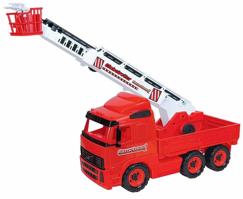 Полесье Пожарная машина Gozan Series 2П-8787Яркий пожарный автомобиль Полесье, обязательно понравится вашему малышу и займет его внимание надолго. Игрушка выполнена из пластика красного, белого и черного цветов. Пожарная машина оснащена выдвижной лестницей с корзиной. Ее угол наклона можно изменить, покрутив колесики, расположенные в основании лестницы. В корзине находятся два крутящихся брандспойта. Платформа с лестницей поворачивается. Шесть больших колес обеспечивают машине устойчивость и хорошую проходимость. Ваш маленький спасатель часами будет играть с пожарным автомобилем, придумывая различные истории. Порадуйте его таким замечательным подарком! Характеристики: Размер машины (с опущенной лестницей): 56 см х 17 см х 35 см. Материал: пластик, металл.