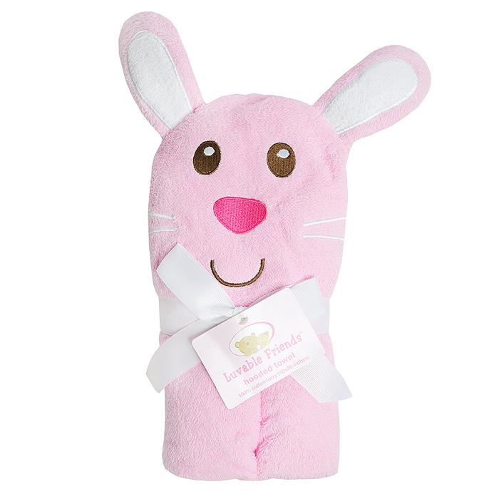 Полотенце с капюшоном Luvable Friends Забавный зверек: Заяц, 76 см х 91 см, цвет: розовый5178_розовыйМахровое полотенце с капюшоном Забавный зверек: Заяц идеально подойдет для ухода за ребенком, подарит ему мягкость и необыкновенный комфорт. Полотенце с капюшоном позволяет полностью завернуть малыша после купания. Изготовленное из хлопка, оно очень мягкое и приятное на ощупь, а также обладает легким массирующим эффектом, отлично впитывает влагу и быстро сохнет. Капюшон украшен аппликацией в виде головы зайца. В полотенце с капюшоном вашему малышу будет тепло и сухо.