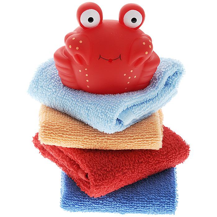 Подарочный набор для купания Luvable Friends, цвет: голубой, 5 предметов5459Подарочный набор для купания Luvable Friends включает в себя игрушку и четыре салфетки. Игрушка-брызгалка выполнена в виде забавного краба красного цвета. Если сначала набрать в игрушку воды, а потом нажать на нее, изо рта краба брызнет тонкая струйка воды, что, несомненно, развеселит малыша. Салфетки прекрасно подойдут для бережного очищения нежной кожи малыша во время купания. Они выполнены из мягкой махры и прекрасно впитывают влагу. В комплект входят четыре салфетки голубого, оранжевого, красного и синего цветов. Набор упакован в подарочную пластиковую коробку, украшенную сверху голубой лентой.