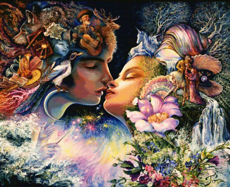 Набор для вышивания крестом Фантазия поцелуя, 92 см х 77 см5012-14 Фантазия поцелуяВ наборе для вышивания крестом Фантазия поцелуя есть все необходимое для создания роскошной интерьерной картины: канва, цветная схема, нитки мулине и 2 иглы. Необычайной красоты рисунок-вышивка, выполненный по картине Джозефины Уолл, привлечет к себе внимание и будет потрясающе смотреться в интерьере вашего помещения. Вышивание крестом отвлечет вас от повседневных забот и превратится в увлекательное занятие! Работа, сделанная своими руками, создаст особый уют и атмосферу в доме и долгие годы будет радовать вас и ваших близких.