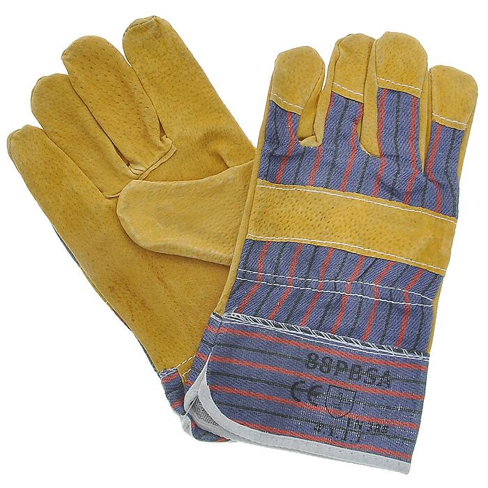 Перчатки рабочие кожаные, цвет: желтый, синий, 10,512440Кожаные рабочие перчатки предназначены для защиты рук во время строительных и погрузо-разгрузочных работ. Они изготовлены из натуральной свиной кожи, отличаются прочностью и износостойкостью. Перчатки позволяют крепко удерживать инструмент во время работы, препятствуя его выскальзыванию. Они удобны в эксплуатации и отлично защищают руки от грязи и механических повреждений.