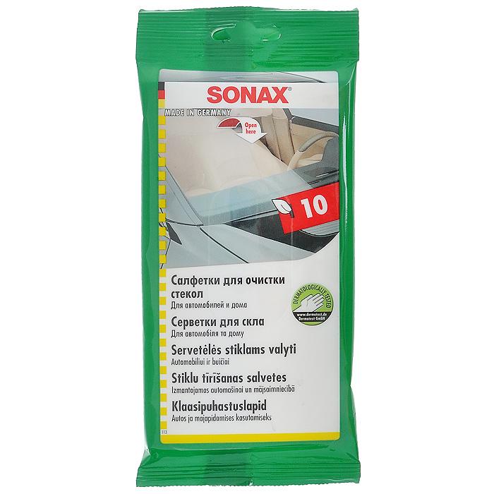 Салфетки Sonax для очистки стекол, 10 шт415000Салфетки Sonax очищают все стеклянные и зеркальные поверхности, не оставляя разводов. Также применимы для тонированных стекол. Обладают свежим ароматом. После использования плотно закройте клапан упаковки.