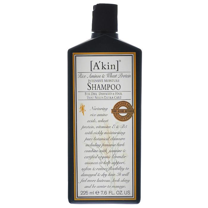 Akin Шампунь увлажняющий Рисовые аминокислоты и протеины пшеницы, для сухих и поврежденных волос, 225 мл1310021Специально разработанный шампунь Akin для интенсивного увлажнения волос. Результат - более сильные, мягкие, блестящие, шелковистые и послушные волосы. Укрепляет волосы и возвращает им влагу, содержит вещества для сохранения цвета окрашенных волос. Для осветленных и поврежденных волос. Активные ингредиенты: Аминокислоты риса являются естественным природным увлажнителем и помогают сохранить питательные вещества при мытье волос. Гуар ухаживает и бережно распутывает волосы, не утяжеляя их. Витамин Е из соевых бобов является антиоксидантом и делает волосы здоровыми, сохраняя цвет окрашенных волос. Глутамат из кокоса защищает волосы. Глиэрил олеат из подсолнечного масла предотвращает потерю естественных жиров. Кора мыльного дерева вляется естественным природным очистителем и бережно смягчает волосы.