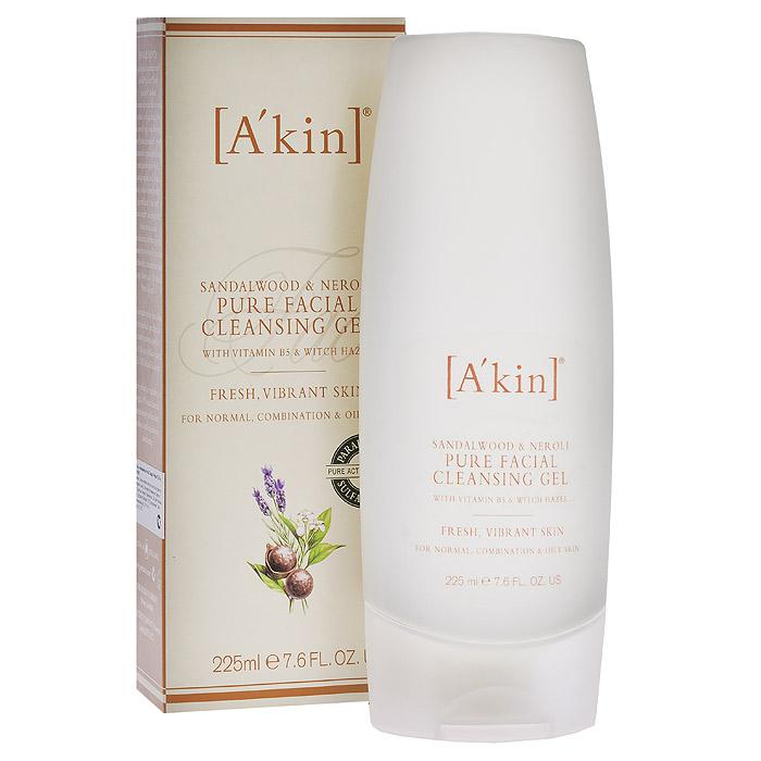 Akin Гель для лица Сандал и нероли, очищающий, 225 мл1110031Не содержащий примесей очищающий гель не сушит кожу, удаляет излишки жира и макияжа, освежает, придает жизненную силу, выравнивает текстуру кожи. Для нормальной, жирной и комбинированной кожи. Активные ингредиенты: Витамин В5 - витамин красоты - обладает успокаивающим эффектом. Гамамелис помогает очищать и успокаивать кожу. Кора мыльного дерева - природный нежный успокаивающий увлажнитель. Характеристики: Объем: 225 мл. Артикул: 1110031. Производитель: Австралия. Товар сертифицирован.