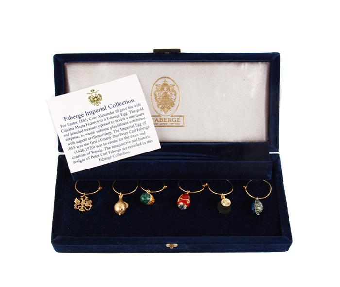 Комплект из 6 кулонов на фужеры. Металл, эмаль, стразы, House of Faberge, 90-е гг. ХХ века