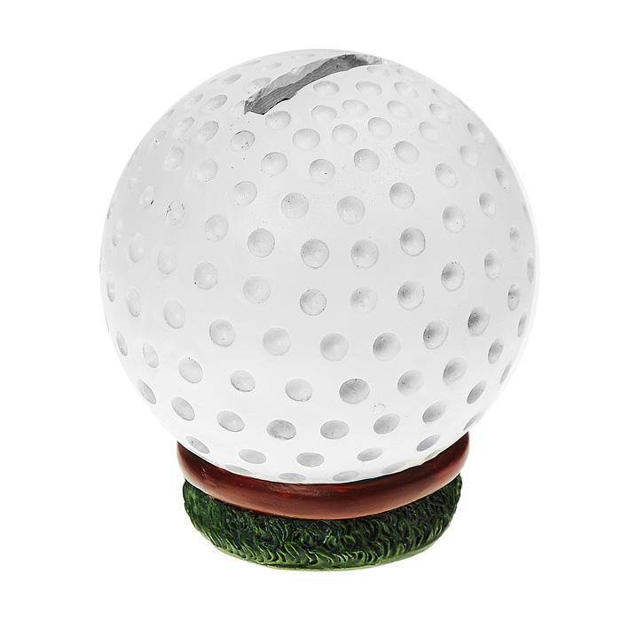 Копилка Гольф, цвет: белый28929Копилка изготовлена из пластика в виде мяча для гольфа. Деньги из копилки вынимаются при помощи пластикового клапана, расположенного на дне копилки. Такая копилка станет оригинальным подарком и принесет вам и вашим близким отличное настроение, и только положительные эмоции!