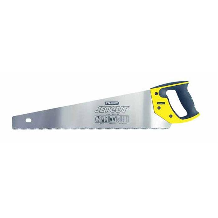 Ножовка по дереву Stanley Jet-Cut SP, 50 см2-15-288Ножовка по дереву Stanley предназначена для пиления ламинированных и деревянных напольных покрытий. Эргономичная рукоятка позволяет точно вести инструмент во время работы. Закаленные зубья с 3-сторонней заточкой обеспечивают удивительную долговечность и скорость пиления. Двухкомпонентная рукоятка позволяет размечать углы в 45° и 90°.