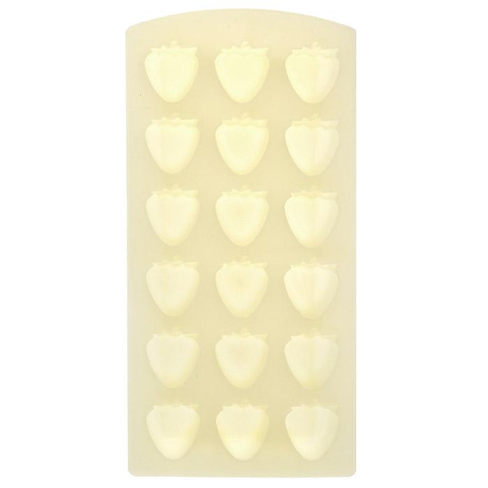 Форма для льда Клубника, цвет: желтый, 18 ячеек25.35.27Форма для льда Клубника выполнена из силикона желтого цвета. На одном листе расположены 18 ячеек в виде клубничек. Благодаря тому, что формочки изготовлены из силикона, готовый лед вынимать легко и просто. Чтобы достать льдинки, эту форму не нужно держать под теплой водой или использовать нож. Теперь на смену традиционным квадратным пришли новые оригинальные формы для приготовления фигурного льда, которыми можно не только охладить, но и украсить любой напиток. В формочки при заморозке воды можно помещать ягодки, такие льдинки не только оживят коктейль, но и добавят радостного настроения гостям на празднике! Характеристики: Материал: силикон. Цвет: желтый. Размер общей формы: 11,5 см х 23 см х 2,5 см. Размер одной ячейки: 2,7 см х 2,7 см. Артикул: 25.35.27.