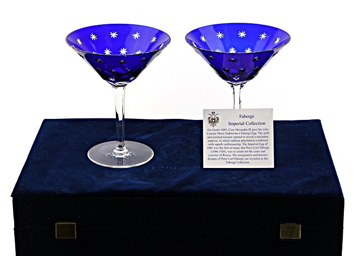 Комплект бокалов для мартини Галактика. Хрусталь. Faberge, Франция, конец XX века52134Комплект бокалов для мартини Галактика. Хрусталь. Faberge, Франция, конец XX века. Диаметр 13 см, высота 16 см. Сохранность хорошая. На коробке небольшие повреждения. Очень красивые, изящные бокалы. Чаша насыщенного синего цвета с вкраплениями белых звезд и тонкая граненая ножка на плоском основании с гравировкой Фаберже. В их оформлении чувствуется настоящий стиль и вкус.