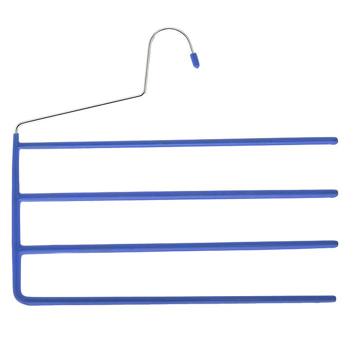 Вешалка для брюк Metaltex, 4 перекладины, цвет: синий55.21.10Вешалка Metaltex для брюк представляет собой четыре стальные перекладины, располагающиеся друг над другом. Каждая из перекладин имеет специальное резиновое покрытие, предотвращающее скольжение ткани. Вешалка - это незаменимая вещь для того, чтобы ваша одежда всегда оставалась в хорошем состоянии.