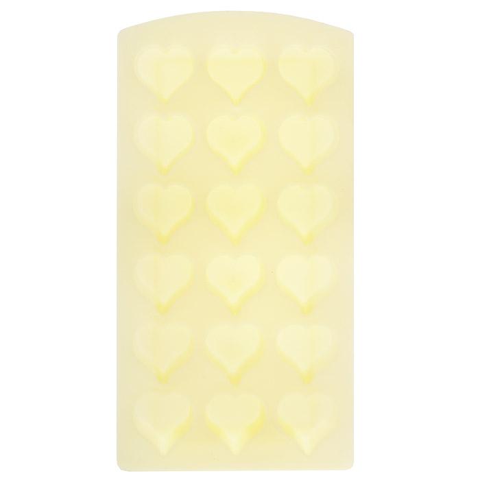 Форма для льда Сердце, цвет: в ассортименте, 18 ячеек25.35.27Форма для льда Сердце выполнена из силикона желтого цвета. На одном листе расположены 18 формочек в виде сердец. Благодаря тому, что формочки изготовлены из силикона, готовый лед вынимать легко и просто. Чтобы достать льдинки, эту форму не нужно держать под теплой водой или использовать нож. Теперь на смену традиционным квадратным пришли новые оригинальные формы для приготовления фигурного льда, которыми можно не только охладить, но и украсить любой напиток. В формочки при заморозке воды можно помещать ягодки, такие льдинки не только оживят коктейль, но и добавят радостного настроения гостям на празднике!