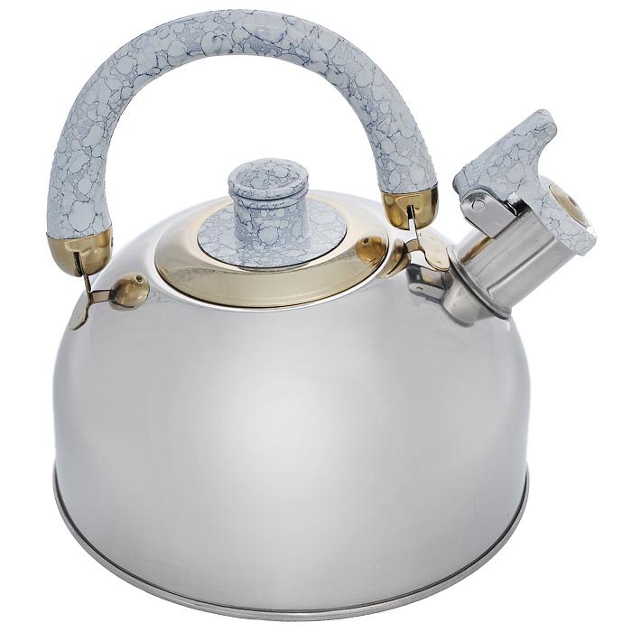 Чайник Mayer & Boch, со свистком, цвет: светло-серый, 3 л. MB-1622MB-1622Чайник Mayer & Boch выполнен из шлифованной зеркальной нержавеющей стали высокой прочности. Чайник оснащен откидным свистком, который громко оповестит о закипании воды. Удобная эргономичная ручка и крышка выполнены из бакелита. Такой чайник идеально впишется в интерьер любой кухни и станет замечательным подарком к любому случаю. Подходит для газовых, электрических, стеклокерамических, галогеновых плит. Не подходит для индукционных плит. Можно мыть в посудомоечной машине. Диаметр чайника (по верхнему краю): 8,5 см. Высота чайника (с учетом ручки): 20 см.