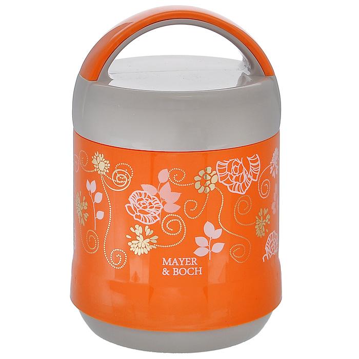 Термос пищевой Mayer & Boch, цвет: оранжевый, серый, 1,2 лMB21647Пищевой термос Mayer & Boch пригодится в любой ситуации: будь то экстремальный поход, пикник, поездка, или вы просто хотите взять с собой домашнюю еду в офис. Корпус термоса, выполненный из пищевого пластика серого и оранжевого цвета, декорирован цветочным узором. На крышке для удобства переноски предусмотрена ручка. Колба термоса изготовлена из прочной нержавеющей стали, которая устойчива к механическим повреждениям, она не разобьется при падении и не треснет от резкого перепада температуры. В широкое горлышко термоса помещены два контейнера с крышками, изготовленные из пищевого пластика белого цвета. Крышки легко открывается и плотно закрывается с помощью легкого щелчка. Термос Mayer & Boch - это идеальный вариант для переноски нескольких разных блюд. В него поместится все необходимое, и вы в любое время сможете вкусно и быстро пообедать.