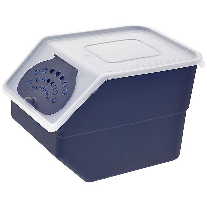 Контейнер для овощей, цвет: синий, 11,2 л821Пластиковый контейнер для овощей изготовлен таким образом, что позволяет овощам и фруктам дышать, обеспечивая их длительную свежесть. Изделие легкое и компактное, в то же время вместительное, прекрасно впишется в пространство вашей кухни. Характеристики: Материал: пластик. Цвет: синий. Объем: 11,2 л. Размер контейнера (В х Ш х Д): 22 см х 21,5 см х 32 см. Артикул: 821.