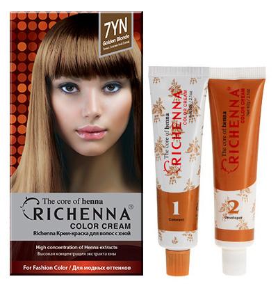Крем-краска для волос Richenna с хной, 7YN. Золотой блонд08910Крем-краска для волос Richenna с хной рекомендуется для безопасного изменения цвета волос, полного окрашивания седых волос и в случае повышенной чувствительности к искусственным компонентам краски для волос. Высокая концентрация экстракта хны в составе крем-краски позволяет уменьшить повреждение волос, сделать их эластичными и здоровыми, придает волосам живой цвет и красивый блеск. Не раздражая кожу, крем-краска полностью закрашивает седину и обладает приятным цветочным ароматом. Упаковка средства в 2-х отдельных тубах позволяет использовать средство несколько раз в зависимости от объема и длины волос. Благодаря кремовой текстуре хорошо наносится и не течет. Время окрашивания 20-30 мин.