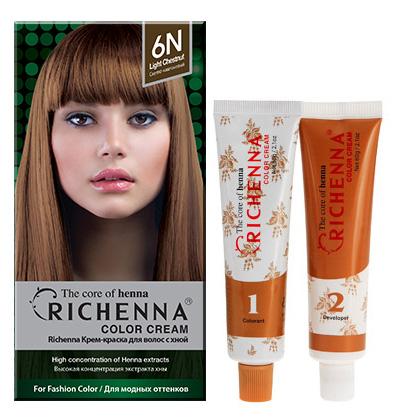 Richenna Крем-краска для волос, с хной, оттенок 6N Светло-каштановый
