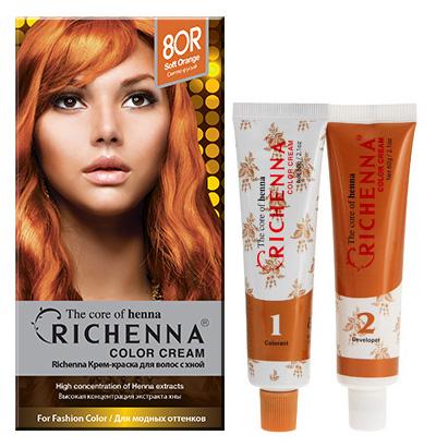 "Крем-краска для волос ""Richenna"" с хной, 8OR. Светло-русый"