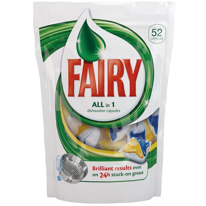 Средство для мытья посуды в капсулах Fairy, 52 шт, 845 гFR-81521460Средство в капсулах Fairy предназначено для мытья посуды в посудомоечных машинах. В пакете содержится 52 капсулы с формулой Fairy ADW, которые отмывают посуду настолько эффективно, что одновременно удаляется грязь и жир с фильтра посудомоечной машины. Основные особенности: - идеально чистая посуда, - эффективно удаляет жир, - удаляет жир из посудомоечной машины, - удаляет сложные пятна, - придает исключительный блеск, - эффективно при низкой температуре, - быстро растворяется в воде, - капсулы не нужно разворачивать, - защищает стекло, - защищает серебро, - предотвращает образование накипи, - функция соли, - функция ополаскивания. Состав: >30% фосфаты, 5-15% неионогенные ПАВ, кислородсодержащие отбеливатели, поликарбоксилаты, <5% фосфонаты, энзимы, ароматизирующие добавки, цитронеллол, лимонен, линалоол.