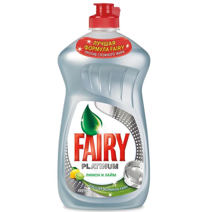Средство для мытья посуды Fairy Platinum Лимон и лайм, 480 млFR-80229487Средство для мытья посуды Fairy Platinum Лимон и лайм обладает отмачивающим свойством. Оно быстро проникает в пригоревший жир и отмывает посуду за 10 минут так легко, как будто посуда была замочена на ночь. Даже трудные остатки пригоревшего жира не требуют длительного замачивания. Приятный аромат лайма и лимона подарит ощущение свежести. Соответствует стандарту РФ по смываемости с посуды.