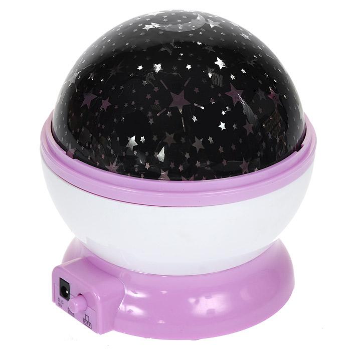 """Ночник-проектор """"Звездное небо"""", вращающийся, цвет: фиолетовый, Эврика"""