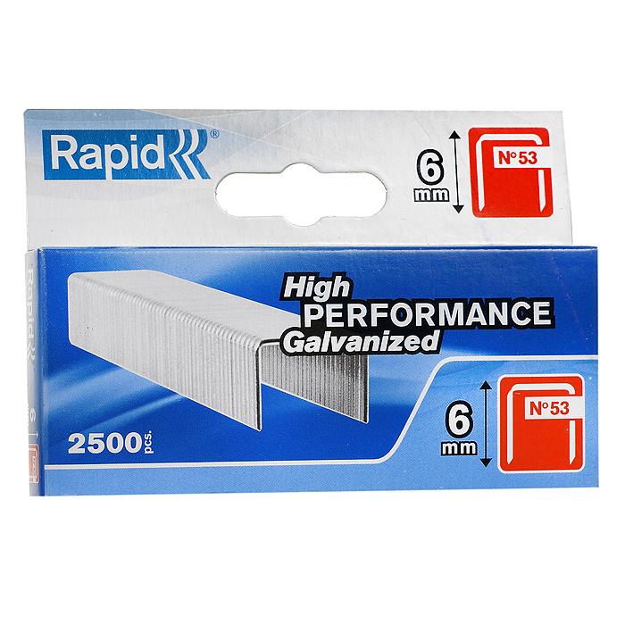 Скобы для степлера Rapid 53/6 2.5М Workline, 2500 шт11856225Набор скоб Rapid для степлера 53/6 2.5М Workline. Скобы изготовлены из штампованной оцинкованной стали и являются высокопроизводительными. Тонкая проволока делает фиксацию почти невидимой.