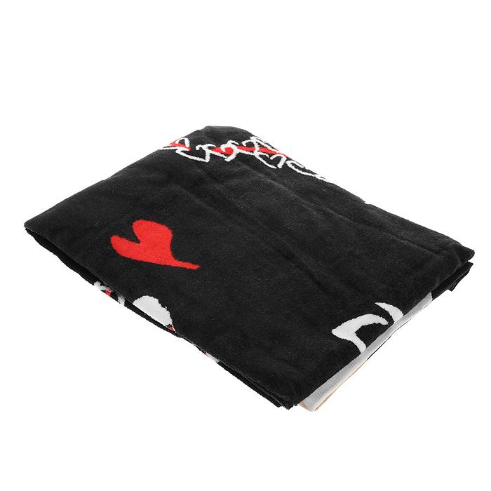Полотенце махровое Love, цвет: черный, 70 см х 137 смПМП-1Махровое полотенце Love, выполненное из натурального хлопка, подарит вам мягкость и необыкновенный комфорт в использовании. Полотенце черного цвета оформлено изображением сердечек, губ и надписью Love. Оно прекрасно впитывает влагу, нежное на ощупь и не теряет своих свойств после многократной стирки. Полотенце хорошо впишется в стиль вашего дома и, безусловно, порадует оригинальным оформлением.