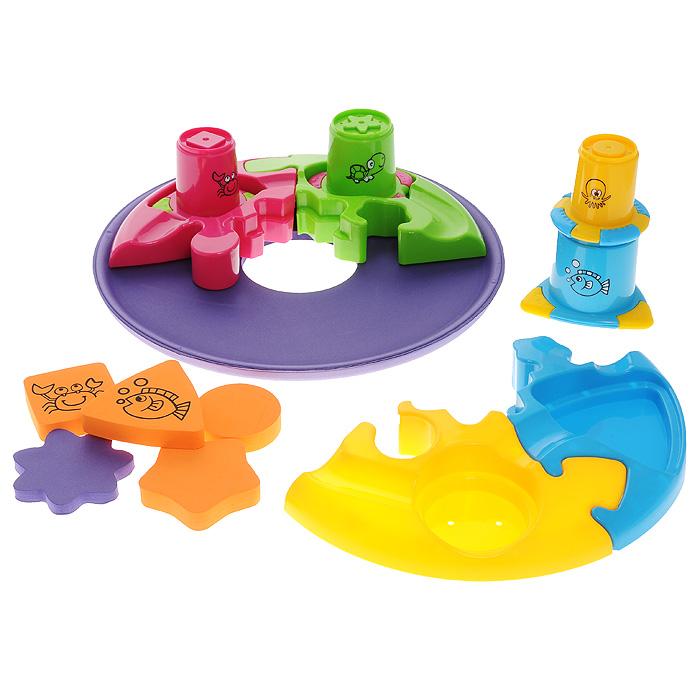 Игровой набор для ванны Плавающая головоломка525002Яркий игровой набор для ванны Плавающая головоломка привлечет внимание вашего малыша и превратит купание в веселую игру! Набор включает в себя плавающую основу, четыре элемента пазла, пять элементов в виде геометрических фигур и четыре стаканчика. Плавающая основа выполнена из вспененного полимера и прекрасно держится на воде. В нее выкладываются четыре больших элемента пазла разных цветов. В каждом элементе есть углубление определенной геометрической формы: круга, квадрата, треугольника, пятиугольника или звездочки. В углубления малыш сможет положить геометрические фигурки, выполненные из вспененного полимера и оформленные изображениями морских обитателей, или стаканчики, края которых повторяют данные геометрические формы. Стаканчики выполнены из яркого пластика разных цветов и оформлены изображением морских обитателей. Благодаря разному диаметру, из них можно построить пирамидку или играть отдельно. На дне каждого стаканчика есть отверстия, через которые вода будет выливаться...