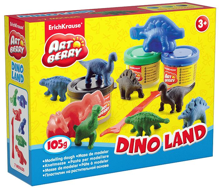 Набор для лепки Dino Land, 10 предметов30369Набор для лепки Dino Land предназначен для лепки и моделирования. Пластилин на растительной основе обладает отличными пластичными свойствами, быстро размягчается, хорошо держит форму и не липнет к рукам. Легко отмывается с рук и отстирывается от одежды. В наборе пластилин трех цветов: синего, зеленого и черного, шесть двусторонних формочек в виде динозавров и стек. Каждый брусочек пластилина упакован в пластиковую баночку с крышкой, цвет которой соответствуют цвету пластилина. Занятия лепкой помогут ребенку развить творческие способности, воображение, мелкую моторику рук и сенсорное восприятие.