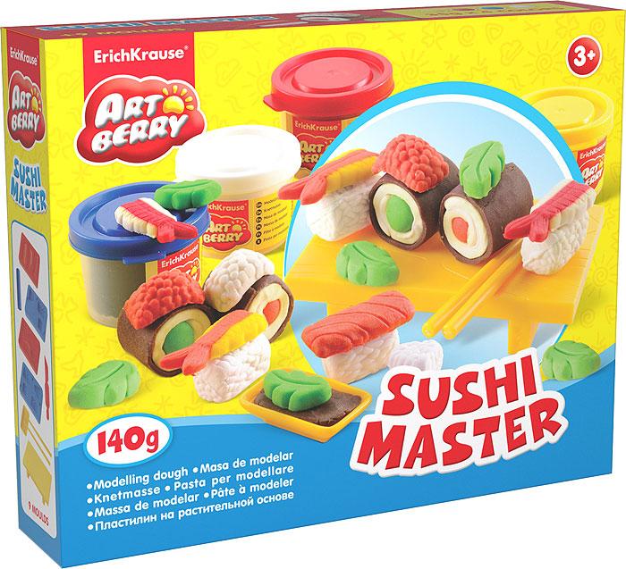 Набор для лепки (на растительной основе) Sushi Master, 4 цвета30380Пластилин на растительной основе Sushi Master - увлекательная игрушка, развивающая у ребенка мелкую моторику рук, воображение и творческое мышление. Пластилин легко разминается, не липнет к рукам и рабочей поверхности, не пачкает одежду. Цвета смешиваются между собой, образуя новые оттенки. Пластилин застывает на открытом воздухе через 24 часа. Набор содержит пластилин 4 цветов (синего, белого, желтого, красного), 4 формы-трафарета, столик для пластилиновых суши, 2 палочки, подсоусник, валик, стек. Пластилин каждого цвета хранится в отдельной пластиковой баночке. С пластилином на растительной основе Sushi Master ваш ребенок будет часами занят игрой.