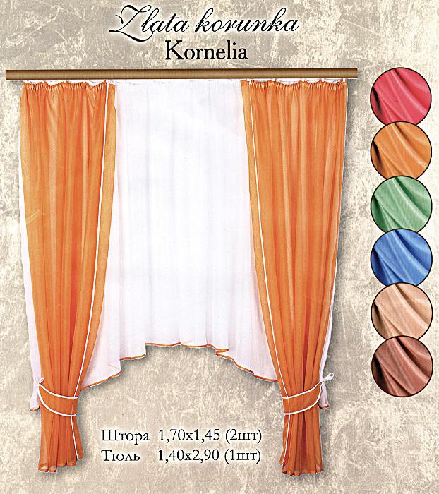 Комплект штор для кухни Kornelia, на ленте, цвет: голубой, высота 170 смБ0010Комплект штор Kornelia, изготовленный из полиэстера голубого цвета, органично впишется в интерьер кухни. В набор входят две легкие шторы и тюль. Также для более изящного расположения штор на окне прилагаются два подхвата. Шторы и тюль шиты на ленте для собирания в сборки.