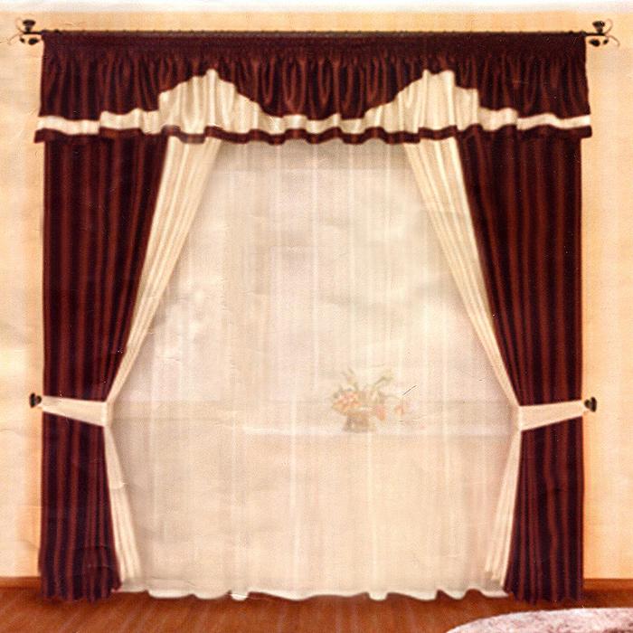 Комплект штор Венге, на ленте, цвет: коричневый, бежевый, высота 250 смБ004Комплект штор Венге, изготовленный из прочного полиэстера, станет великолепным украшением любого окна. В набор входят две плотные шторы, вуалевый белый тюль и ламбрекен. Также для более изящного расположения штор на окне прилагаются подхваты. При подгибе изделий использовалась атласная тесьма. Комплект имеет изысканный внешний вид и обладает яркостью и сочностью цвета. Все предметы комплекта на шторной ленте для собирания в сборки. Характеристики: Материал: 100% полиэстер. Цвет: коричневый, бежевый. Размер упаковки: 28 см х 7 см х 40 см. Производитель: Польша. Изготовитель: Россия. Артикул: Б004. В комплект входит: Штора - 2 шт. Размер (ШхВ): 150 см х 250 см. Тюль - 1 шт. Размер (ШхВ): 500 см х 250 см. Ламбрекен - 1 шт. Размер (ШхВ): 500 см х 50 см. Подхват - 2 шт. УВАЖАЕМЫЕ КЛИЕНТЫ! Обращаем ваше внимание на цвет изделия. Цветовой вариант комплекта, данного в интерьере, служит для...