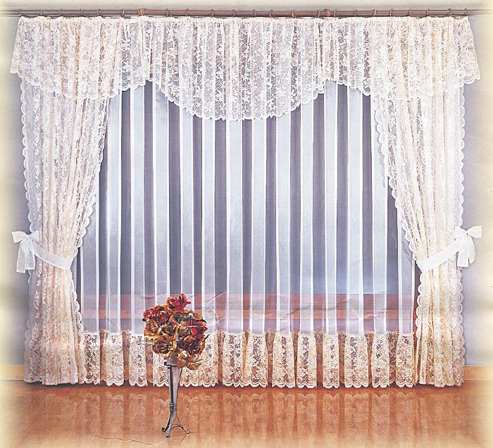 Комплект штор Maria, на ленте, цвет: кремовый, белый, высота 250 см710478Комплект штор Maria великолепно украсит любое окно. Комплект состоит из двух штор, тюли и ламбрекена. Для более изящного расположения штор прилагаются подхваты. Шторы изготовлены из легкого воздушного полиэстера кремового цвета, тюль - из полиэстера белого цвета. Шторы, ламбрекен и нижняя часть тюля украшены изящными кружевными узорами. Тонкое плетение, оригинальный дизайн и нежная цветовая гамма привлекут к себе внимание и органично впишутся в интерьер комнаты. Все предметы комплекта оснащены шторной лентой для собирания в сборки.