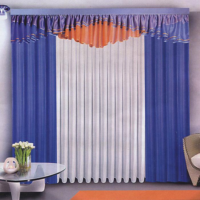 Комплект штор Zlata Korunka, на ленте, цвет: синий, белый, высота 250 смБ072Комплект штор Zlata Korunka станет великолепным украшением любого окна. Комплект состоит из двух штор, тюля и ламбрекена, выполненных из легкого вуалевого полиэстера. Оригинальное дизайн и контрастная цветовая гамма привлекут внимание и органично впишутся в интерьер помещения. Все предметы комплекта оснащены шторной лентой для собирания в сборки.