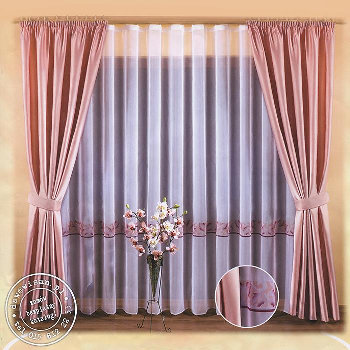 Комплект штор Natasza, на ленте, цвет: розовый, белый, высота 250 см634910Комплект штор Natasza великолепно украсит любое окно. Комплект состоит из двух штор и тюли. Для более изящного расположения штор предусмотрено два подхвата. Шторы выполнены из плотного полиэстера розового цвета с атласной текстурой. Вуалевый тюль выполнен из легкого полиэстера белого цвета и оформлен ярким орнаментом. Оригинальный дизайн и нежная цветовая гамма привлекут внимание и органично впишутся в интерьер помещения. Все предметы комплекта - на шторной ленте для собирания в сборки.