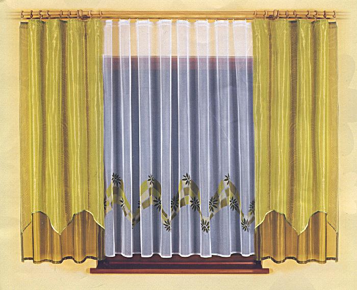 Комплект штор для кухни Sandra, на ленте, цвет: белый, оливковый, высота 180 см616329Комплект штор Sandra станет великолепным украшением кухонного окна. В набор входит тюль и две шторы, выполненные из легкого полиэстера. Нижняя часть тюля оформлена оригинальным принтом. Тонкое плетение и нежная цветовая гамма привлекут внимание и органично впишутся в интерьер кухни. Все предметы комплекта оснащены шторной лентой для собирания в сборки.