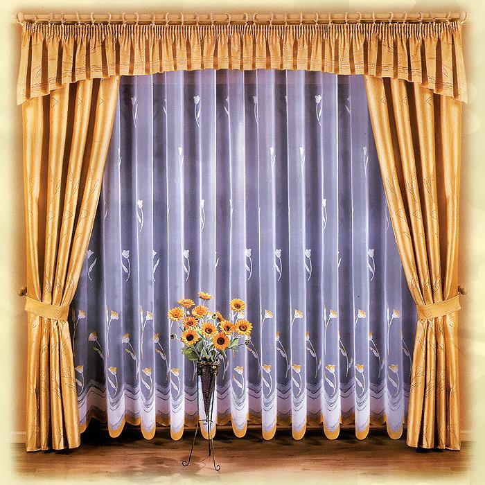 Комплект штор Marianna, на ленте, цвет: белый, желтый, высота 250 см667369Комплект штор Marianna станет великолепным украшением любого окна. В набор входит тюль, две шторы и ламбрекен. Для более изящного расположения штор прилагаются подхваты. Шторы и ламбрекен изготовлены из плотного полиэстера желтого цвета, тюль - из легкого полиэстера белого цвета с изящным цветочным принтом. Тонкое плетение, оригинальный дизайн и контрастная цветовая гамма привлекут к себе внимание и органично впишутся в интерьер комнаты. Все предметы комплекта оснащены шторной лентой для собирания в сборки.