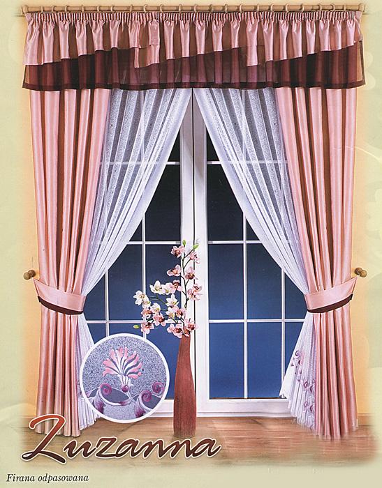Комплект штор Zuzanna, на ленте, цвет: розовый, белый, высота 250 см664160Комплект штор Zuzanna великолепно украсит любое окно. Комплект состоит из двух штор, двух занавесок и ламбрекена. К комплекту прилагаются подхваты для более изящного расположения штор на окне. Шторы и ламбрекен изготовлены из плотного полиэстера розового цвета с атласной текстурой, занавески - из легкого полиэстера белого цвета. Тонкое плетение, оригинальный дизайн и нежная цветовая гамма привлекут к себе внимание и органично впишутся в интерьер помещения. Все предметы комплекта оснащены шторной лентой для собирания в сборки. Характеристики: Материал: 100% полиэстер. Цвет: розовый, белый. Размер упаковки: 28 см х 38 см х 10 см. Артикул: 664160. В комплект входит: Штора - 2 шт. Размер (ШхВ): 150 см х 250 см. Занавески - 2 шт. Размер (ШхВ): 175 см х 250 см. Ламбрекен - 1 шт. Размер (ШхВ): 400 см х 45 см. Подхваты - 2 шт. Фирма Wisan на польском рынке существует уже более пятидесяти лет и является одной из лучших...
