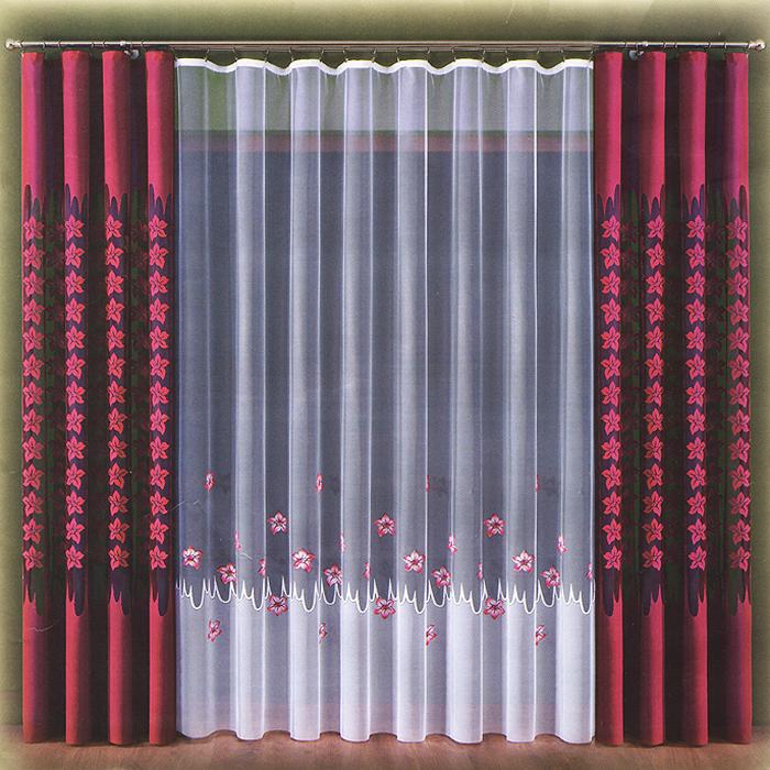 Комплект штор Doda, на ленте, цвет: бордовый, белый, высота 270 см732432Комплект штор Doda великолепно украсит любое окно. Комплект состоит из двух штор и тюли, оформленных изящным цветочным принтом. Шторы изготовлены из плотного полиэстера бордового цвета, тюль - из легкого полиэстера белого цвета. Тонкое плетение, оригинальный дизайн и яркая цветовая гамма привлекут к себе внимание и органично впишутся в интерьер помещения. Все предметы комплекта - на шторной ленте для собирания в сборки.