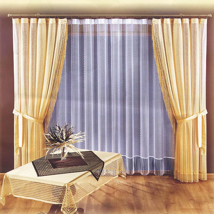 Комплект штор Charlotte, на ленте, цвет: белый, бежевый, высота 250 см723676Комплект штор Charlotte великолепно украсит любое окно. Комплект состоит из двух штор и тюли. Для более изящного расположения штор прилагаются подхваты. Шторы и тюль, выполненные из легкого полиэстера, по краям оформлены бахромой. Тонкое плетение, оригинальный дизайн и нежная цветовая гамма привлекут к себе внимание и органично впишутся в интерьер комнаты. Все предметы комплекта оснащены шторной лентой для собирания в сборки.