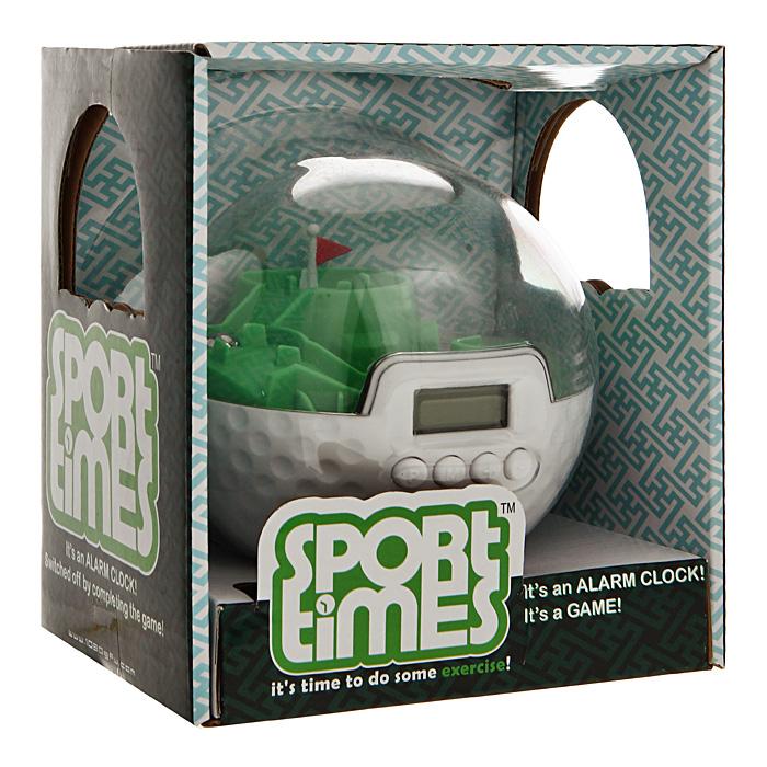 Будильник Sport times настольный. 9466594665Настольные часы-будильник Sport times выполнены из пластика в виде шара для гольфа. Это не просто будильник оригинального дизайна, но и мини-игра! Внутри шара находится игровая площадка для мини-гольфа и металлический шарик, который необходимо закатить в лунки. Будильник оснащен ЖК-дисплеем и кнопками для установки времени. Этот необычный будильник не позволит вам проспать и опоздать на важную встречу или совещание. Но для того, чтобы его выключить, вам придется провести шарик к лунке, а для этого как следует проснуться! Будильник-шар станет ярким аксессуаром вашего дома, который будет привлекать внимание и поднимать настроение.