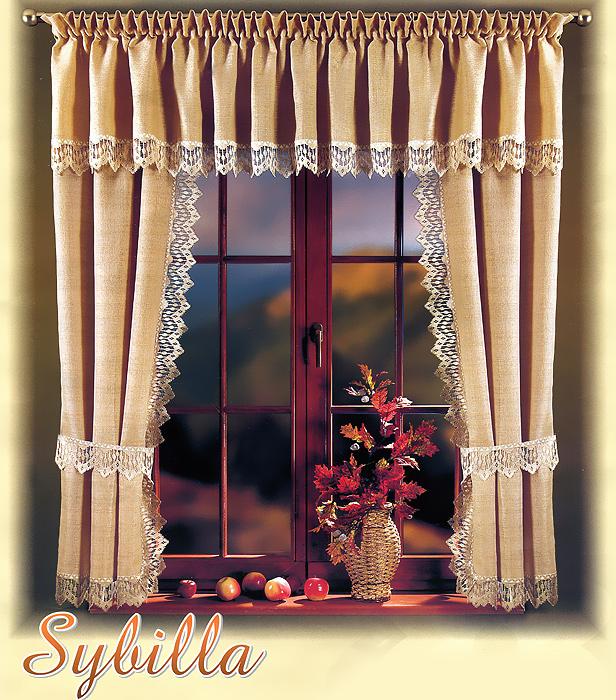 Комплект штор для кухни Sybilla, на кулиске, цвет: бежевый, высота 170 см700134Комплект штор Sybilla великолепно украсит кухонное окно. Комплект состоит из двух штор и ламбрекена. Для более изящного расположения штор прилагаются подхваты. Шторы изготовлены из плотного полиэстера бежевого цвета и по краям оформлены кружевом. Оригинальный дизайн и нежная цветовая гамма привлекут к себе внимание и органично впишутся в интерьер кухни. Шторы оснащены кулиской для крепления на круглый карниз.