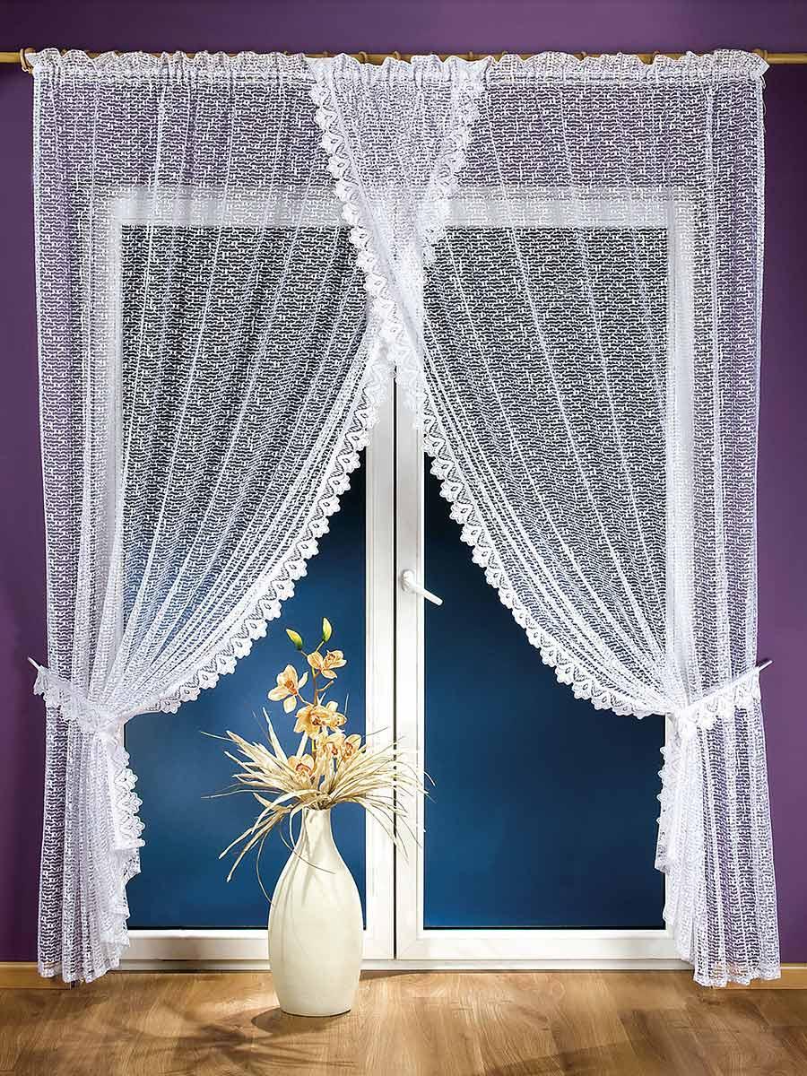 Комплект штор для кухни Aniela, на ленте, цвет: белый, высота 250 см674497Комплект штор Aniela состоит из двух полотен, сшитых вместе с эффектом нахлеста. Шторы изготовлены из легкого воздушного полиэстера белого цвета и по краям оформлены кружевом. Тонкое плетение, оригинальный дизайн и светлая цветовая гамма привлекут к себе внимание и органично впишутся в интерьер кухни. В шторы вшита шторная лента. Характеристики: Материал: 100% полиэстер. Цвет: белый. Размер упаковки: 36 см х 26 см х 4 см. Артикул: 674497. В комплект входит: Штора - 1 шт. Размер (ШхВ): 200 см х 250 см. Фирма Wisan на польском рынке существует уже более пятидесяти лет и является одной из лучших польских фабрик по производству штор и тканей. Ассортимент фирмы представлен готовыми комплектами штор для гостиной, детской, кухни, а также текстилем для кухни (скатерти, салфетки, дорожки, кухонные занавески). Модельный ряд отличает оригинальный дизайн, высокое качество. Ассортимент продукции постоянно пополняется.