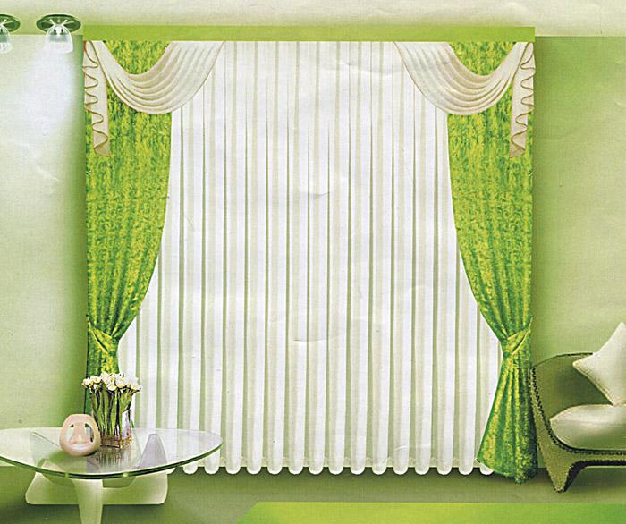 Комплект штор Zlata Korunka, на ленте, цвет: зеленый, высота 250 смБ064Комплект штор Zlata Korunka, изготовленный из прочного полиэстера с жаккардовым переплетением, станет великолепным украшением любого окна. В набор входят две плотные шторы зеленого цвета, вуалевый белый тюль и ламбрекен. Также для более изящного расположения штор на окне прилагаются подхваты. Комплект имеет изысканный внешний вид и обладает яркостью и сочностью цвета. Все предметы комплекта на шторной ленте для собирания в сборки. Жаккард - одна из дорогих тканей. Жаккардовые ткани очень прочны, долговечны и удобны в эксплуатации. Своеобразный рельефный рисунок, который получается в результате сложного плетения на плотной ткани, напоминает своего рода гобелен.